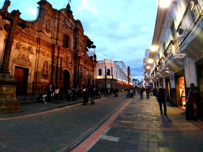 Before The Night EyeEm Selects EyeEmNewHere High Angle View Asus Zenfone4max Wideangle Cityscape Lacompañiadejesus Ecuador Historic Center Quito Church City Sky Architecture Building Exterior Built Structure Street Scene