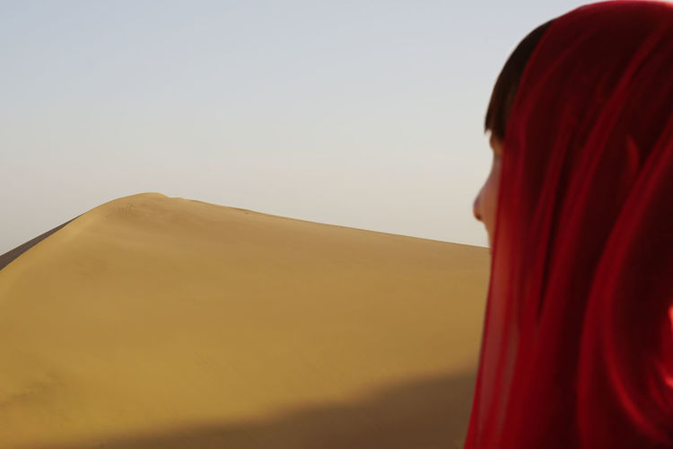 Clear Sky Copy Space Desert Nature One Person Real People Red Sand Dune Sky