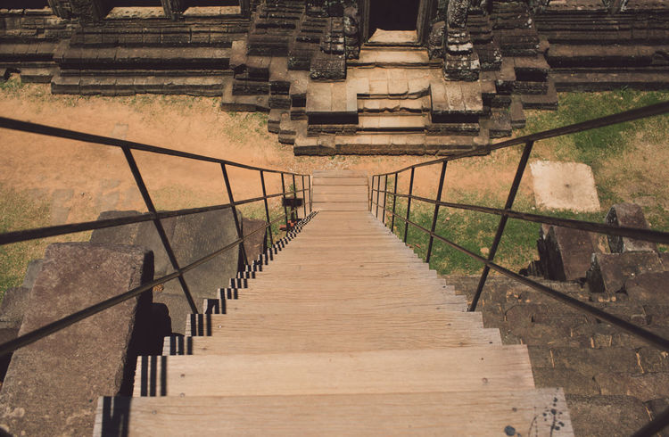 Siem Reap Cambodia Angkor Staircase Architecture Steps And Staircases Railing Built Structure No People The Way Forward Direction Day Nature Outdoors High Angle View In A Row Wood - Material Empty Pattern Old Ancient Sunlight Moving Up