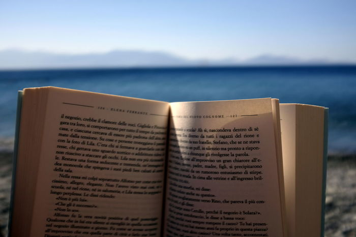 Beach Book Close-up Communication Day Focus On Foreground Horizon Over Water Nature No People Open Outdoors Page Sea Sky Spirituality Text Water Sommergefühle