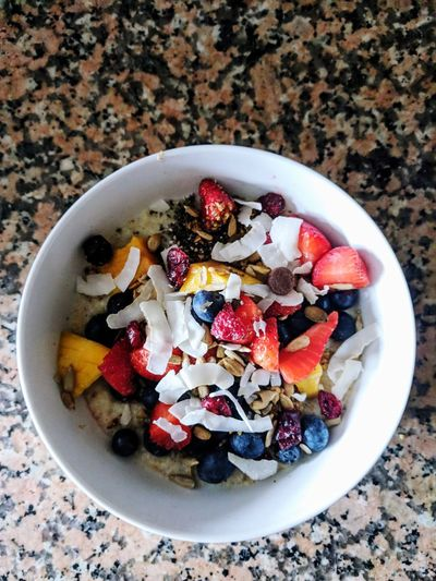 Healthy Eating Porridge Strawberry Coconut Blueberries Blueberries And Strawberry Fruit Directly Above Table Bowl High Angle View Raspberry Plate Breakfast Close-up Sweet Food Rolled Oats Breakfast Cereal Berry Fruit Oats - Food Chia Seed Oatmeal