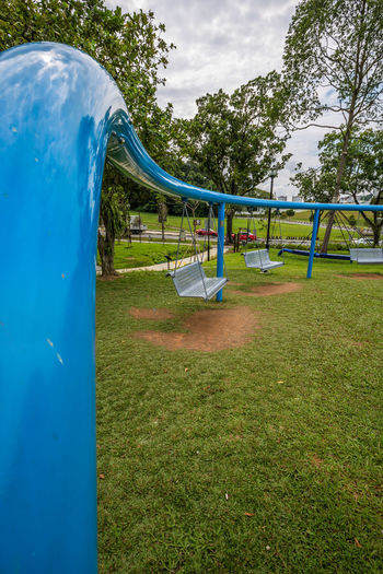 Ribbon Playscape 5 @ Marsiling Park, previously known as Woodlands Town Garden I had a bit of photography fun with this play area back in June 2018. So many swings! :D Bright Colors Public Park Day Hang Out No People Outdoor Play Equipment Swing