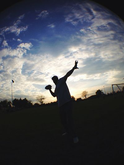 Growing Better Throwing Football Stretching Arm Football Field Soccer Field Grass Outdoors Fisheye IPhoneography