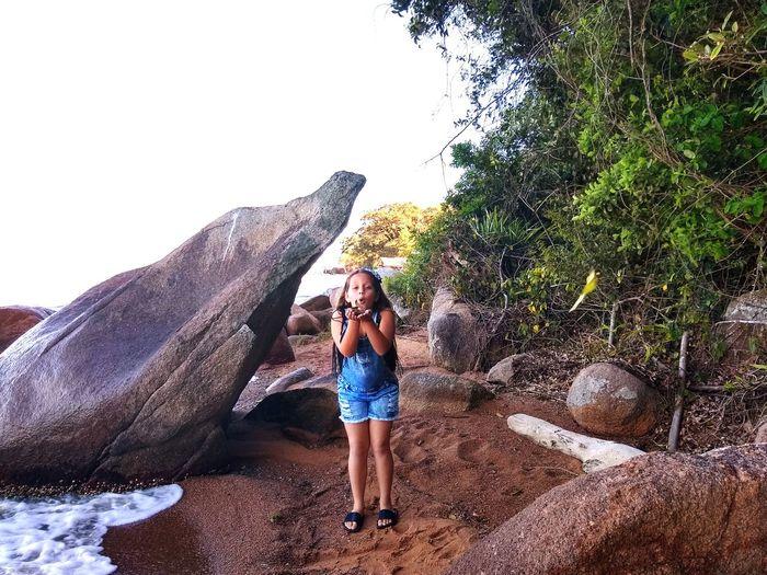Full Length Young Women Standing Beach Summer Rock - Object Sky