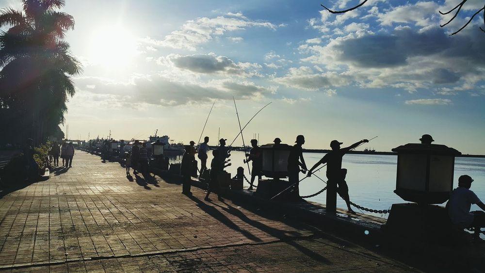 Everyday Joy Fishermen Enjoying The Sun Sunset Manila, Philippines ManilaStreetPhotography Baywalk Blue Wave