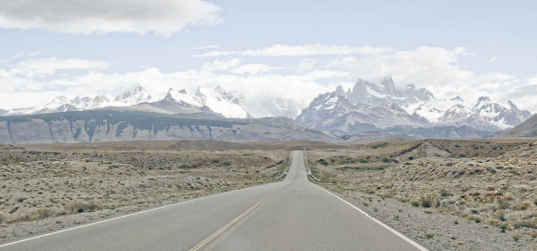 Country Road Landscape Mountain Nature Non-urban Scene Outdoors Panorama Panoramic Landscape Patagonia Argentina Road Sky The Way Forward Tranquil Scene