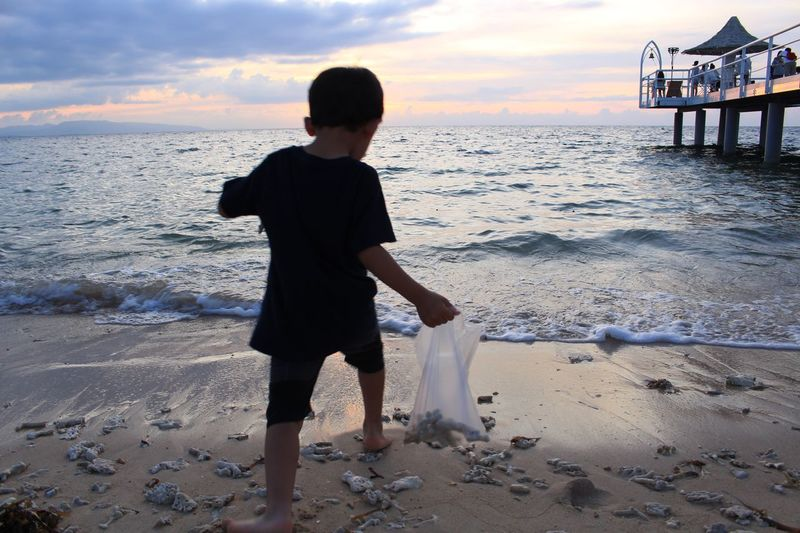Ishigaki Island Fusaki Beach Beach Sea Sunset Boy Wave Coral Sand & Sea
