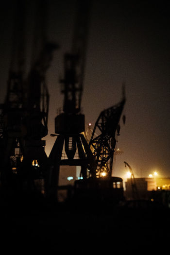Hamburg Harbour Architecture Building Exterior Built Structure City Drilling Rig Illuminated Night No People Oil Pump Outdoors Silhouette Sky Squeezerlens