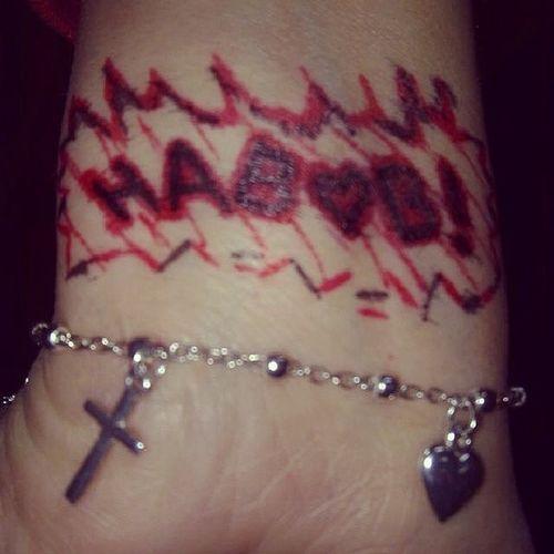 Habobi Heart Cross Red Black Ink Hand
