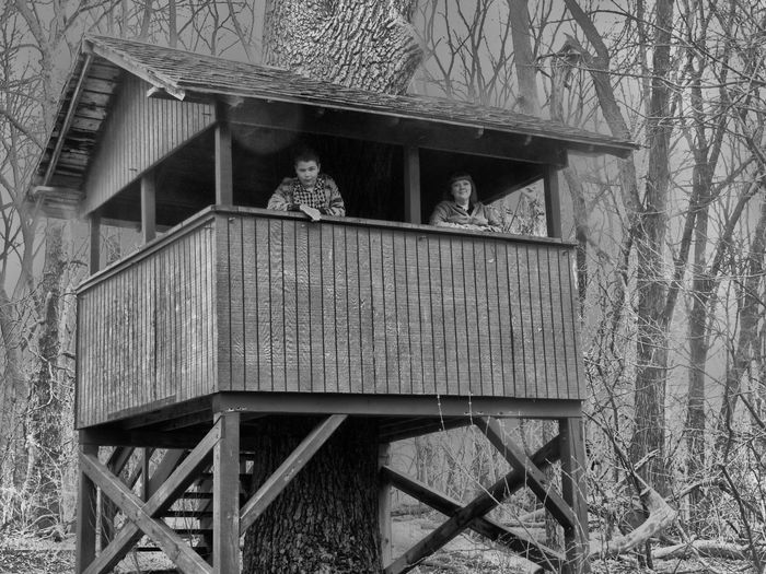 Henry Ford Estate Tree House Architecture Black And White Boy Boy Girl Built Structure Day Dearborn Desaturated Fall Girl Gloomy Weather Henry Ford Estate Looking Down Michigan Nature Outdoors Overlook Platform Rainy Smile Stairs Tree House Treehouse Wood - Material Wooden