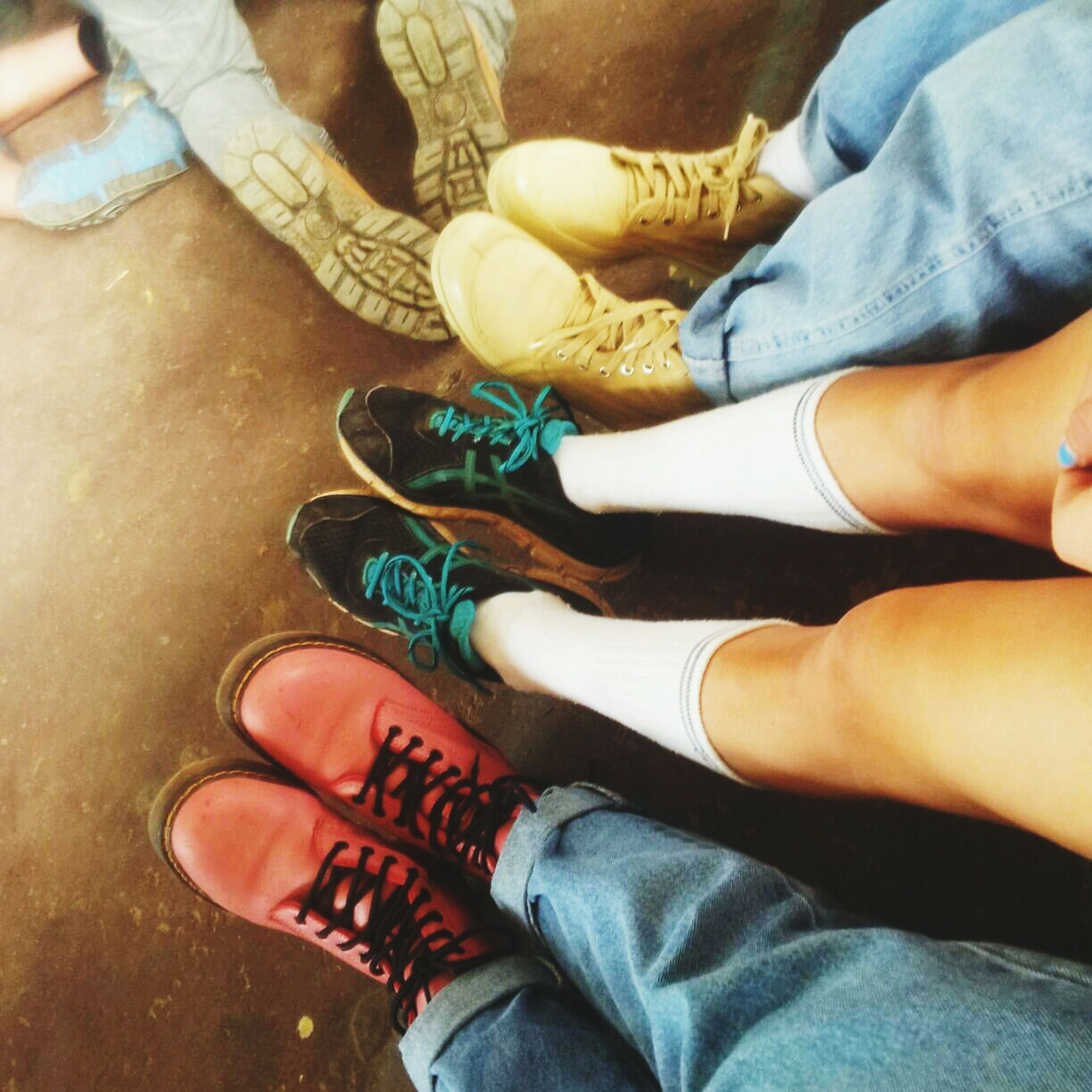 person, low section, personal perspective, lifestyles, togetherness, human foot, leisure activity, men, bonding, shoe, part of, jeans, high angle view, love, standing