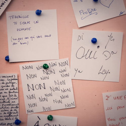 Close-up of adhesive notes on wall
