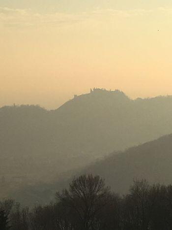 Ravano panorama. 21 january 2018 Yellow Athmosphere Hills Visitveneto Medievalcity Castle Marostica Nature Tree Fog Tranquility Silhouette Beauty In Nature Tranquil Scene