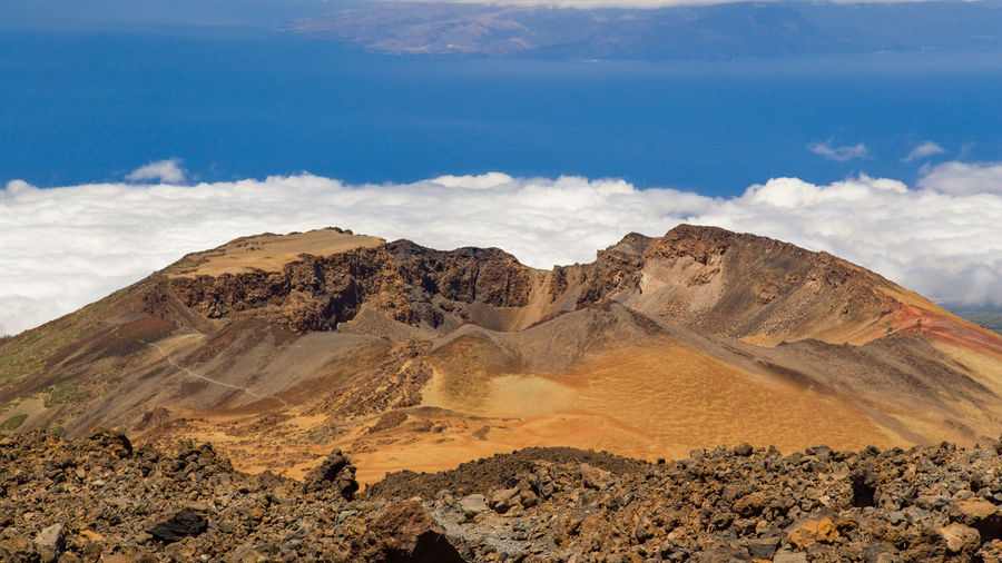 Scenic view of volcanic mountain at teide national park