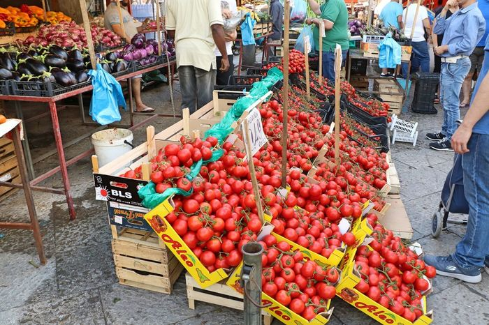 Tomatoes in the market Ballaro' Palermo, Italy Sicily, Italy Buying Day Food For Sale Fresh Food Freshness Fruit Healthy Eating Large Group Of Objects Market Market Stall Marketplace Natural Food Outdoors Retail Display Sale Street Market Tomatoes Variation Vegetable EyeEmNewHere
