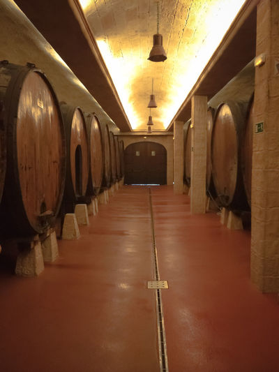 Barrel Cellar Cider Day Distillation Food And Drink Industry Illuminated In A Row Indoors  No People Wine Wine Cask Wine Cellar Winemaking Winery Wood - Material