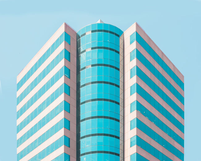 Pastel Power Reflection The Graphic City Urban Geometry Architecture Asymmetry Blue Building Exterior Built Structure City Clear Sky Geometry Light And Shadow Low Angle View Modern No People Pastel Pastel Colors Reflection_collection Repetition Sky Skyscraper Symmetry Symmetryporn Urban Skyline Colour Your Horizn The Architect - 2018 EyeEm Awards