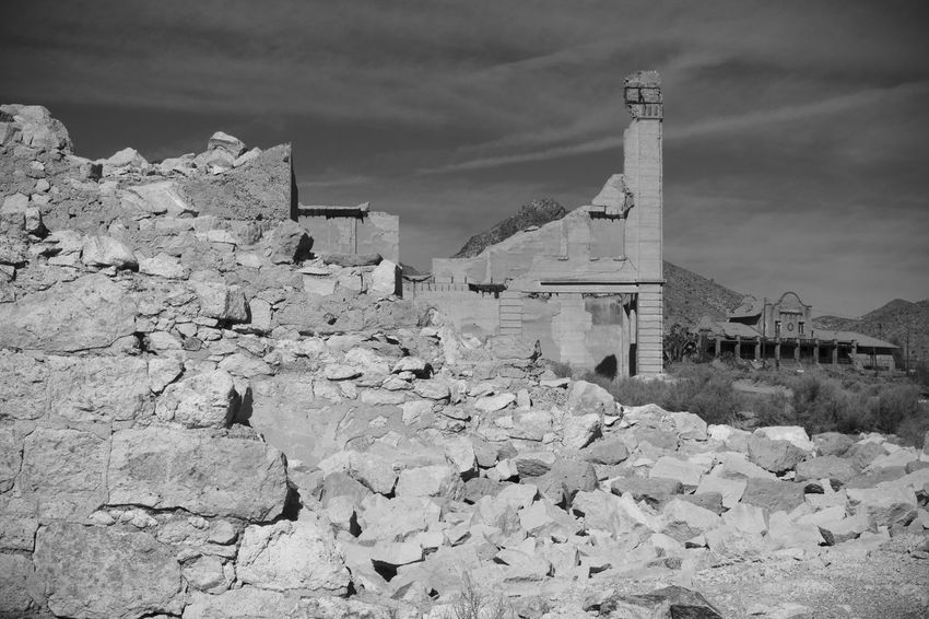 Ancient Civilization Architecture Black And White Blackandwhite Building Exterior Built Structure Cloud - Sky Day Ghost Town Industry Mountain Nature No People Old Ruin Outdoors Rubble Wall Sky