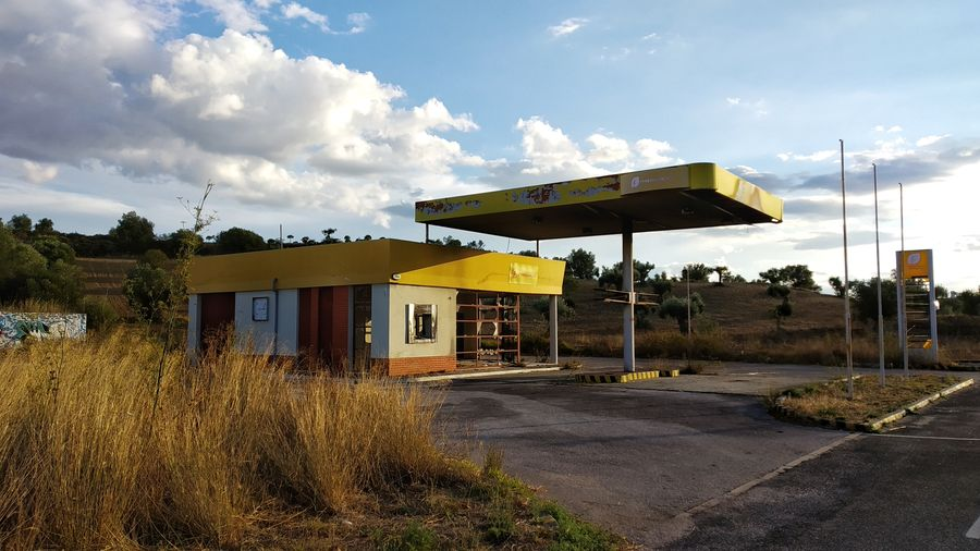 Rust Degradation Fuel Pump Gasoline Gas Station Sky Architecture Cloud - Sky Built Structure Fossil Fuel Refueling