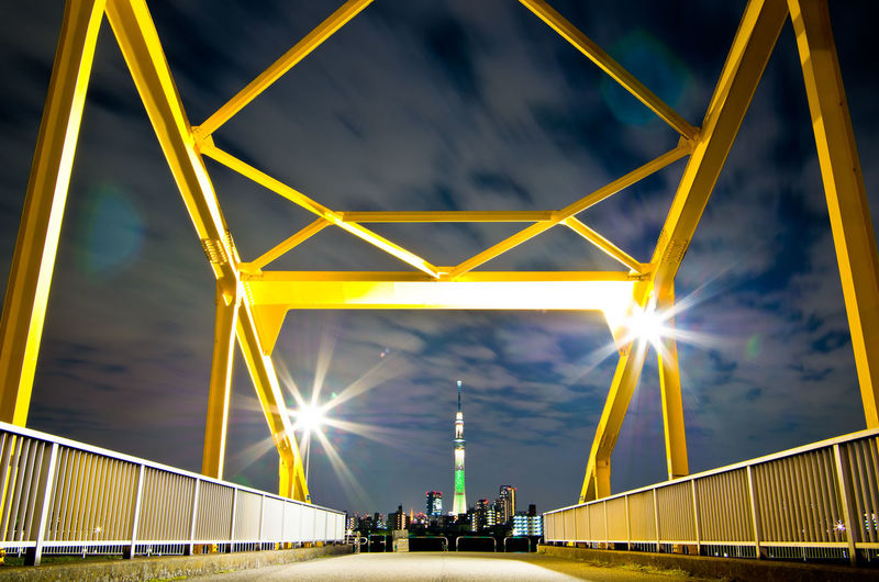 Tokyo Night Tokyo Sky Tree Tokyo Japan Japan Photography Architecture Built Structure Bridge Bridge - Man Made Structure Illuminated Sky Connection Engineering Transportation Yellow Nature Cloud - Sky City Night Outdoors Travel Destinations Low Angle View Suspension Bridge Building Exterior
