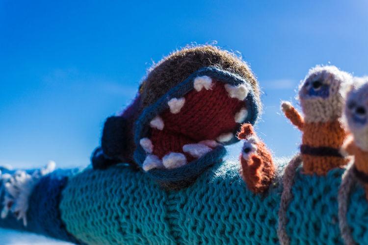 Beach Closeup Knitting Monster Yarn Yarn Bombing