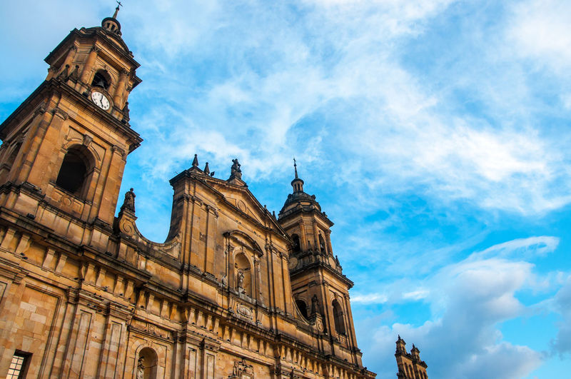 Low angle view of church against sky at bolivar square