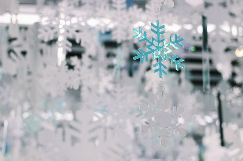 Snowflake in Bangkok. Backgrounds Manmade Cold Beautiful Sparkle Sparkling Light Pile Piled Up Adorn Ornaments Decorations Decorated Paper White Blue Grey Hanging Snowflake Christmas Winter Christmas Decoration Snow Celebration Cold Temperature No People Close-up Fragility