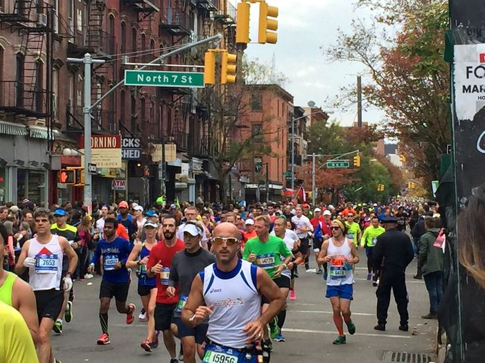 New York Marathon 1st November 2015. Photographed along Berry St, Williamsburg. Brooklyn Christopher Walken City City Life City Street Colourful Crowd Funny Signs Large Group Of People Lifestyles Marathon Marathonrunner New York Marathon New York Street Photography Outdoors Real People Road Road Sign Runner Running Running A Marathon Street Street Life Streets Of New York Williamsburg First Eyeem Photo
