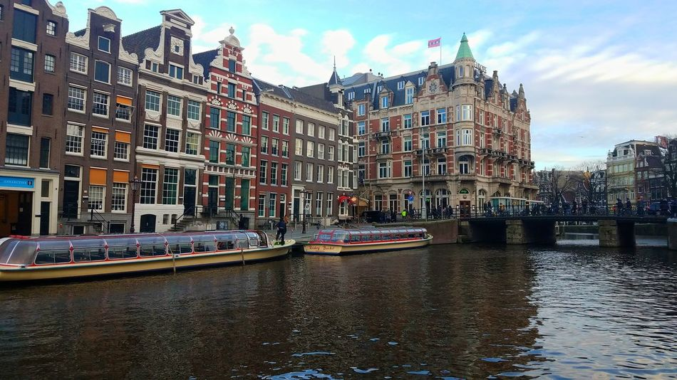 Amsterdam, The Netherlands (March 2018) Canon Boats Canal Boat Europe Amsterdam Canals Netherlands Holland Abroadstudy Abroad Nautical Vessel Gondola - Traditional Boat Sky Building Exterior Built Structure Cloud - Sky Canal Postcard