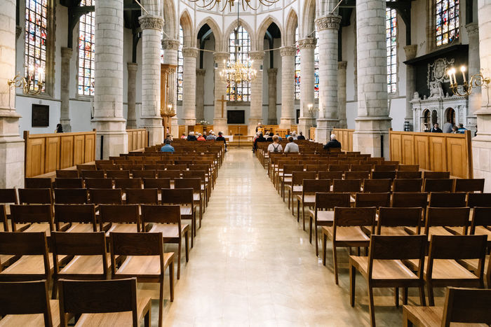 Interior of church in Gouda Bench Benches Cathedral Christian Church Indoors  Interior Landmark Perspective Praying Religion Travel Travel Destinations