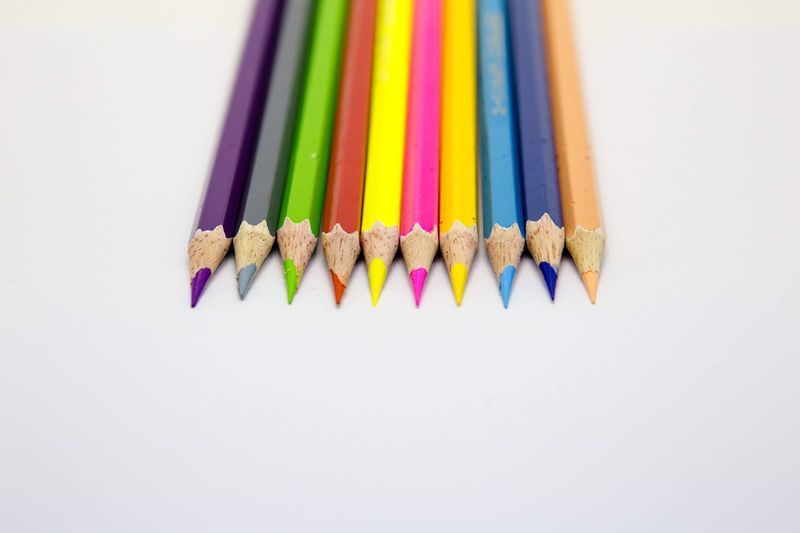 White Background Colored Pencil Still Life Multi Colored Variation Pencil Studio Shot Variety Choice No People Large Group Of Objects Pencil Shavings Close-up