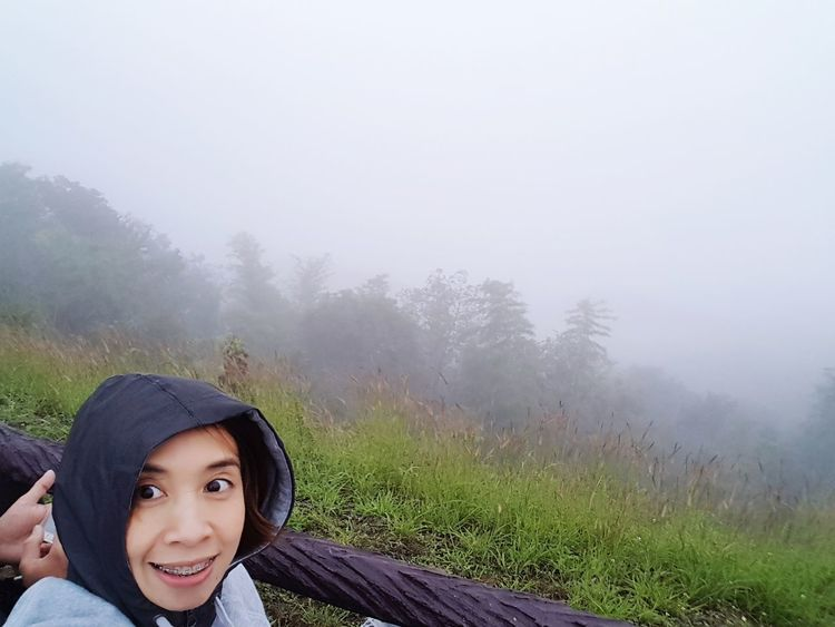 #weather #Cool #travel #travelphotography #Thailand #people #photography #journey #trees #green #beautiful EyeEm Selects Portrait Looking At Camera Fog Adventure Women Headshot Tree Hooded Shirt Smiling Sky Hood - Clothing Forest Camping Fallen Tree Stream WoodLand
