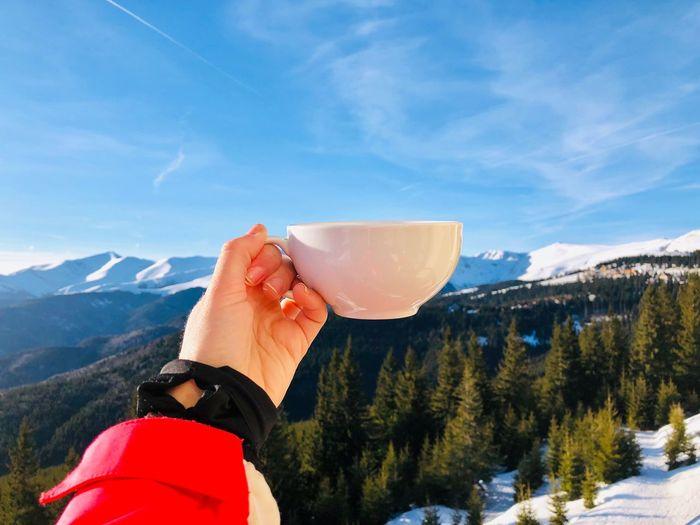Mountain One Person Human Hand Winter Hand Cold Temperature Scenics - Nature