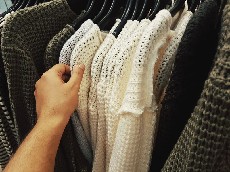Human Body Part Human Hand Textile Indoors  One Person Adult Close-up People Day Adults Only Shop Shopping Day Chose Choice Clothes Clothing