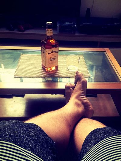 #jackDaniels #relax Indoors  One Person Human Body Part Real People Bottle Low Section Body Part