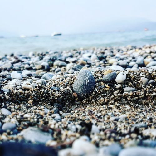 Surface level of pebble coastline