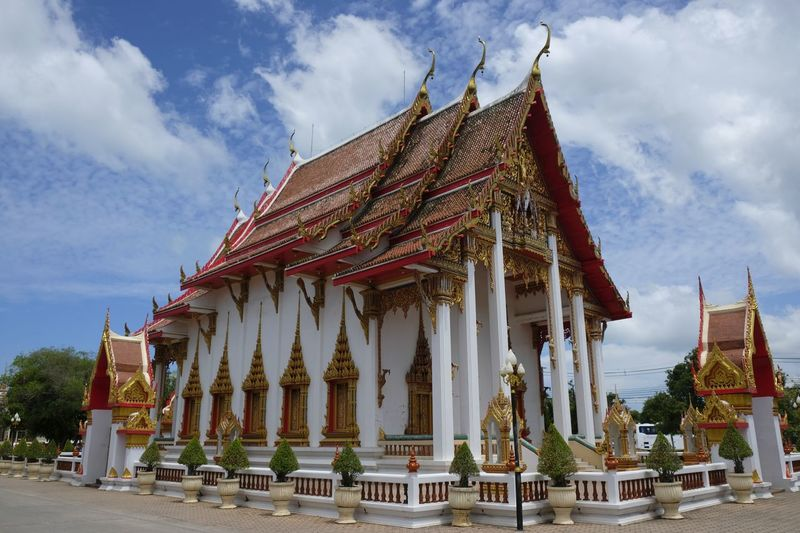 Low angle view of traditional building against sky, temple, thailand, budism