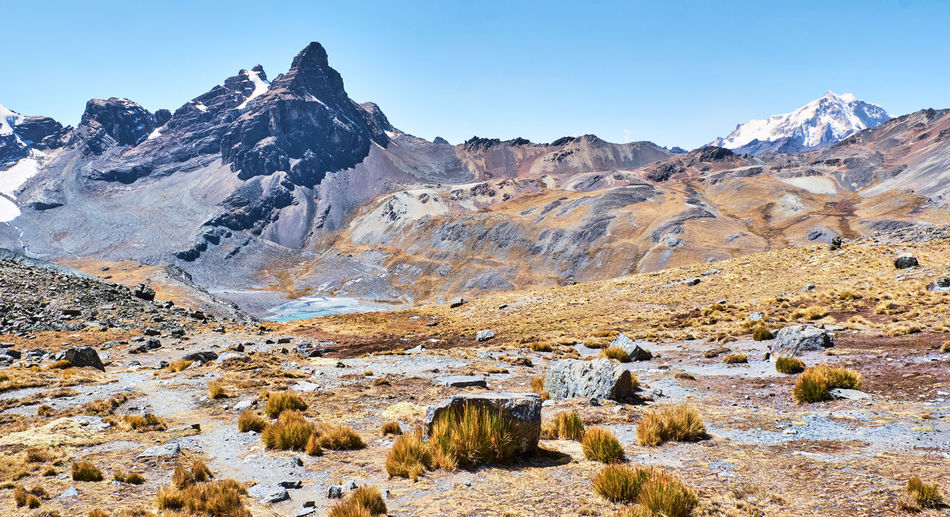 Scenic view of snowcapped mountains against sky pico austria hiking trail cordillera real bolivia