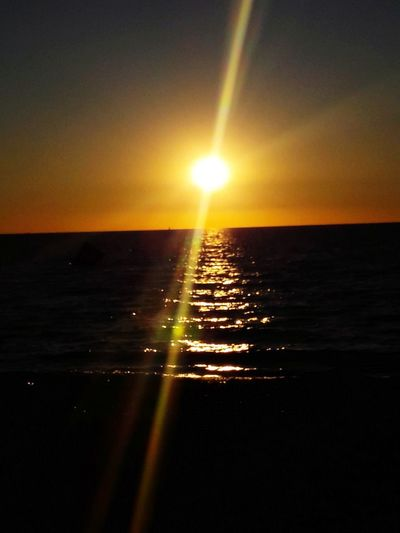 most beautiful thing in the world, sunset over the sea The Great Outdoors - 2018 EyeEm Awards Water Sea Sunset Refraction Sun Clear Sky Reflection Silhouette Seascape Rippled Horizon Over Water Waterfront Water Surface Shining Coast Ocean