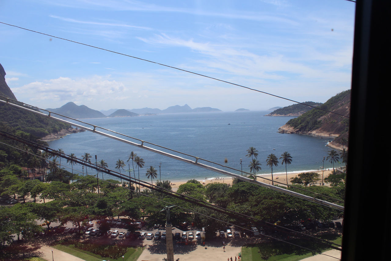 OVERHEAD CABLE CAR OVER SEA BY MOUNTAINS AGAINST SKY