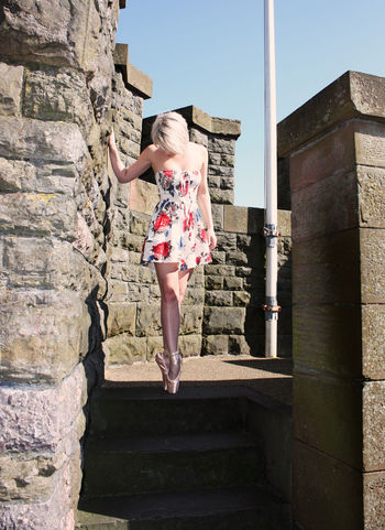 Architecture Ballet Shoes Building Exterior Built Structure Cardiff Castle Casual Clothing Dancer Day Full Length Girl Low Angle View Outdoors Person Standing Steps Sunlight Wales