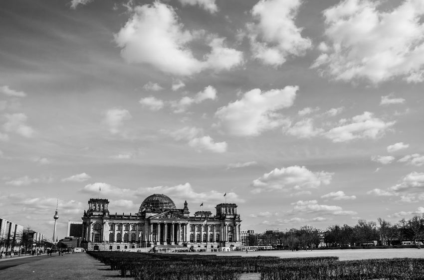 Reichstag Architecture Blackandwhite Building Building Exterior Built Structure City Cloud - Sky Clouds Day Nature No People Outdoors Reichstag River Sky Tourism Transportation Travel Travel Destinations
