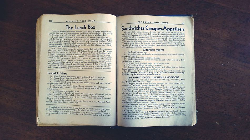 In case you need to make a lunch Watkins Cookbook Vintage Sandwiches Lunchbox