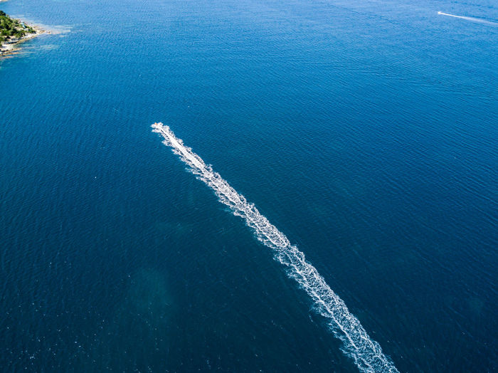 High Angle View Of Ship Sailing In Sea