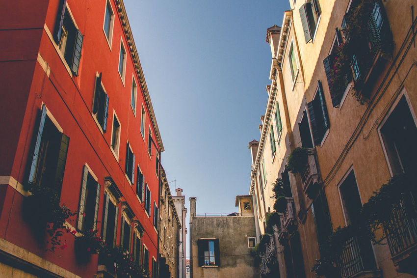 #Venice #italy #travel #travelphotography Architecture Building Building Exterior Built Structure City Clear Sky Day Low Angle View No People Outdoors Sky Street Town Wall - Building Feature Window