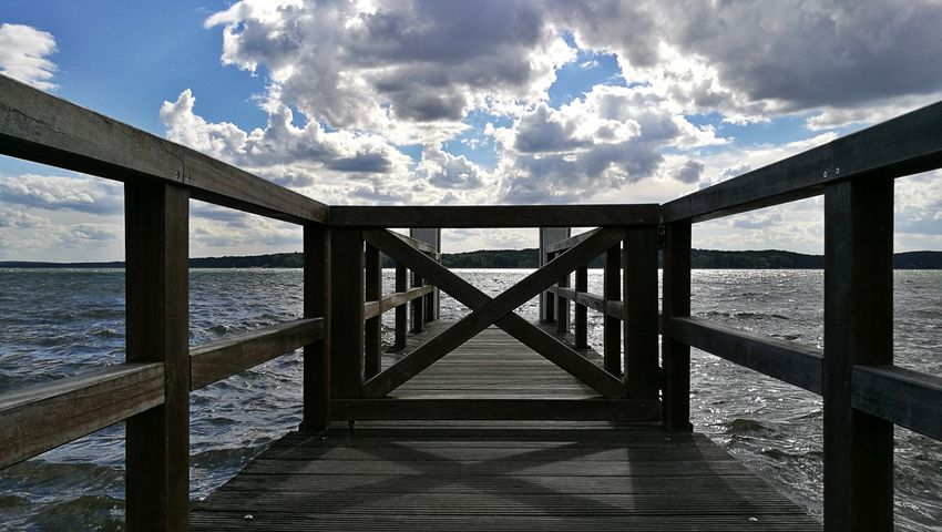 Cloud - Sky Sea Bridge - Man Made Structure Sky Railing Wood - Material Pier Outdoors Day Horizon Over Water Beach Water Shadow Nature Horizon No People Beauty In Nature EyeEm Selects Sommergefühle
