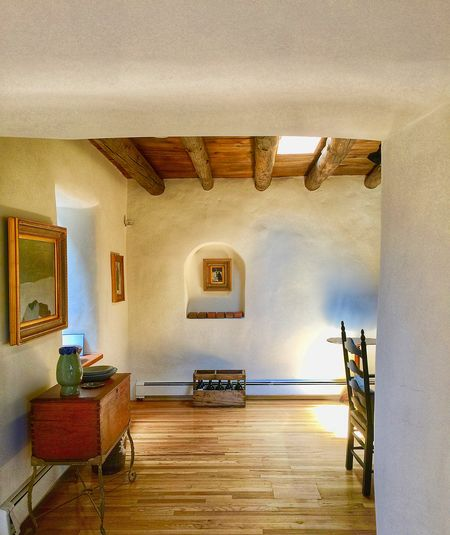 Interior with Nicho Morning Light Adobe Walls Architecture Built Structure Champagne Crate Day Hardwood Floor Historic Home Interior Home Showcase Interior Indoors  Nicho No People Plaster Shadows Vigas Wood - Material EyeEmNewHere