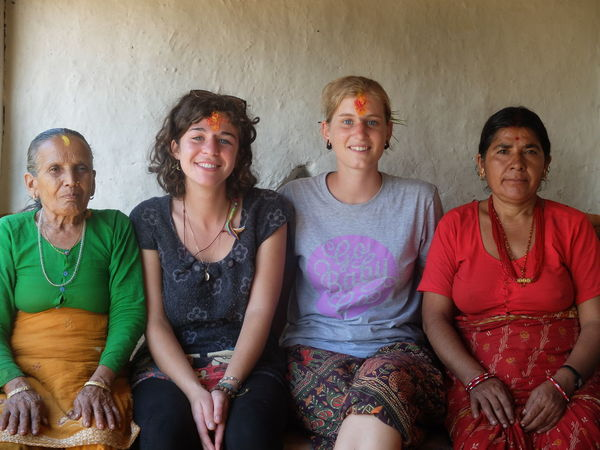 Celebration Intercultural Exchange Nepal Third Eye Front View Grandma Happiness Mature Women People Portrait Sitting Smiling Tika Togetherness Western Women