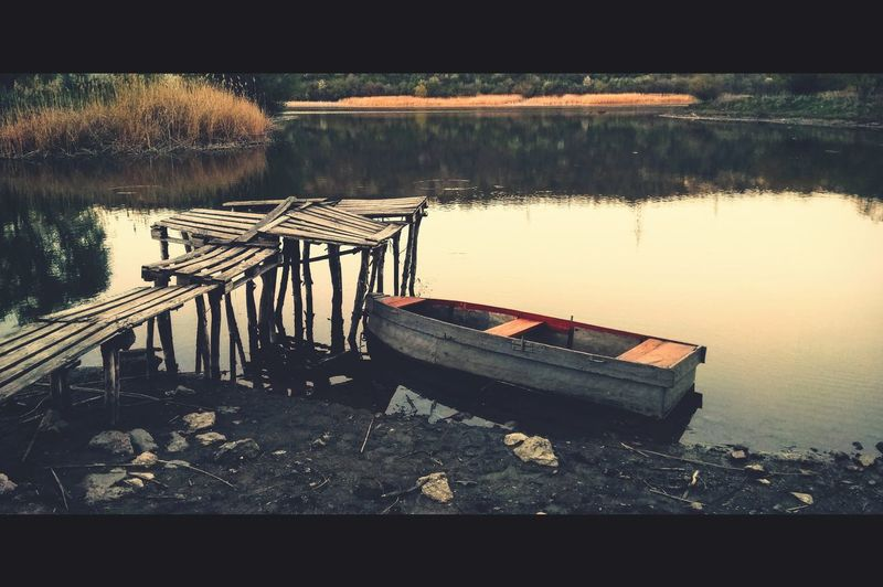 Wooden pier on lake
