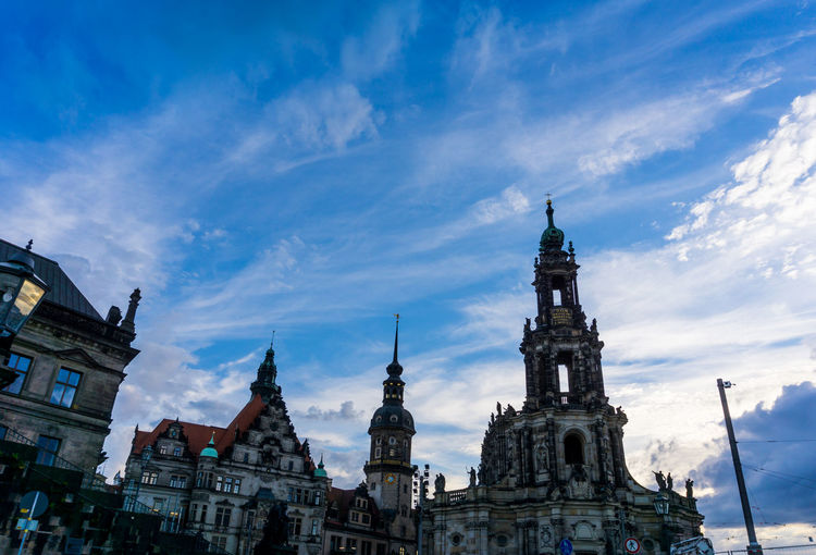 Low angle view of dresden cathedral against sky